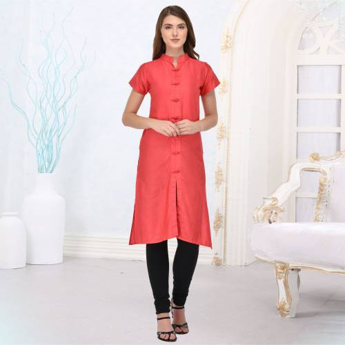 Pink Silk Plain Straight Kurti