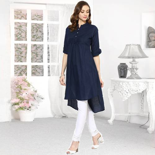 Blue Rayon Plain Collar Neck High Low Hem Kurti