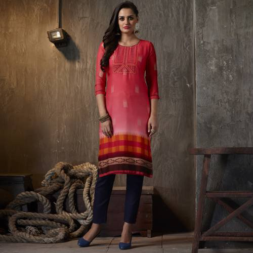 Pink Georgette Embroidered Calf Length Kurti
