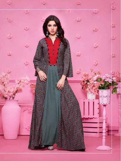 Grey And Red Rayon Printed Floor Length Anarkali Kurti
