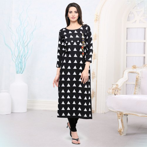 Black And White Rayon Printed Straight Kurti