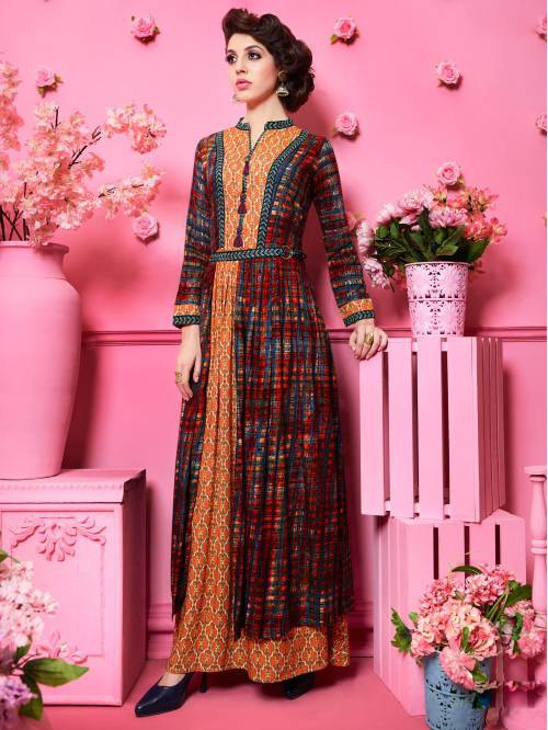 Multicolorrayon Printed Floor Length Anarkali Kurti