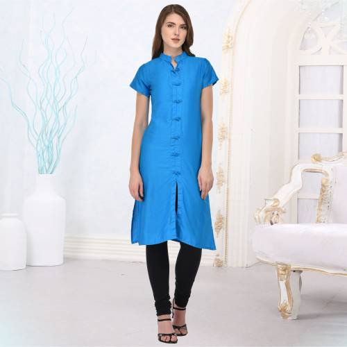 Blue Silk Plain Straight Kurti