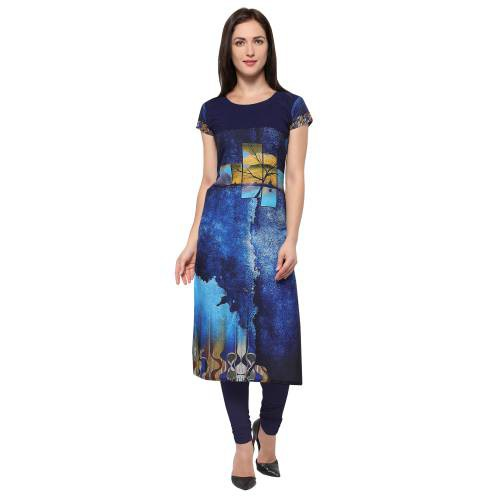 Blue Crepe Digital Printed Kurti