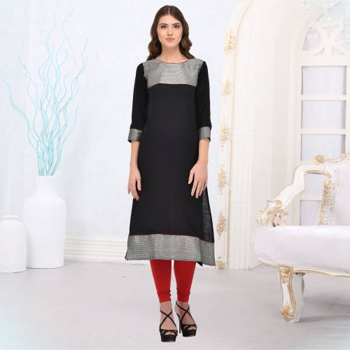 Black And Grey Rayon Plain Straight Kurti