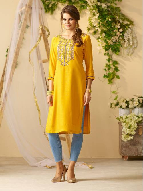 Yellow Rayon Embroidered Knee Length Straight Kurti