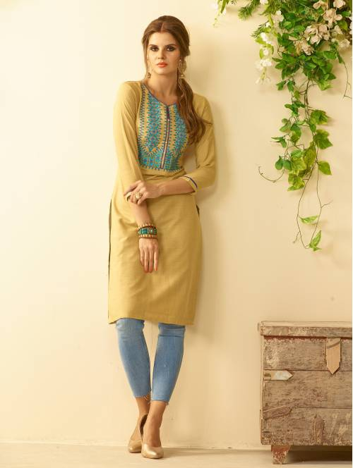 Beige Rayon Embroidered Knee Length Straight Kurti