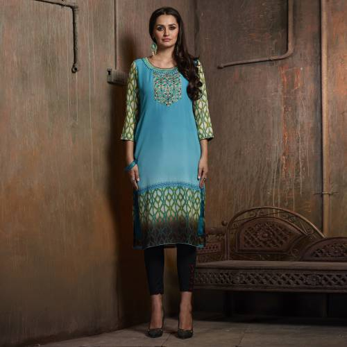 Green Georgette Embroidered Calf Length Kurti