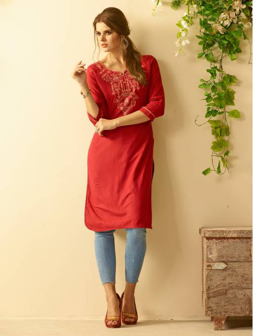 Red Rayon Embroidered Knee Length Straight Kurti