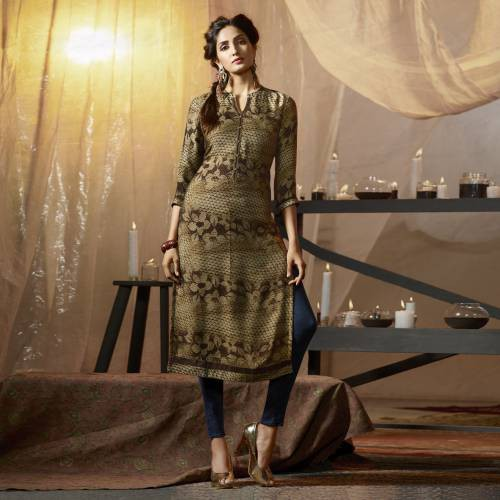 Beige Crepe Embroidered Straight Kurti
