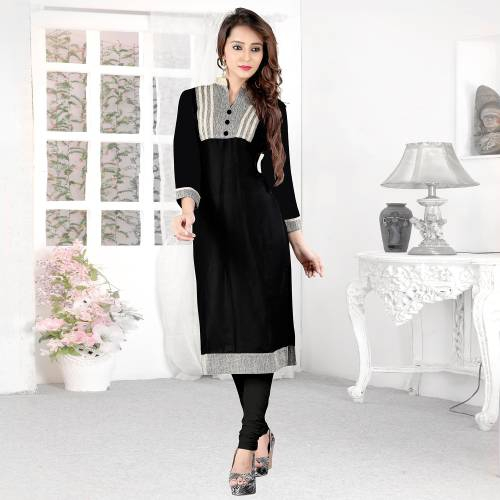 Black And Grey Rayon And Jute Plain Collar Neck Straight Kurti