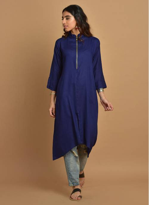 Plain Navy Blue Assymetric Kurti With Mandarin Collar & 3/4th Sleeves
