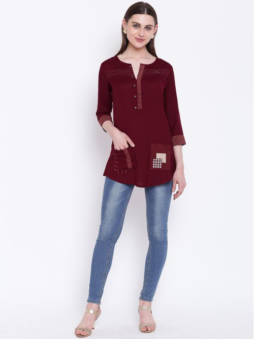 Maroon Rayon Embroidered Short Straight Kurti