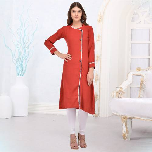 Red Rayon Plain Straight Kurti