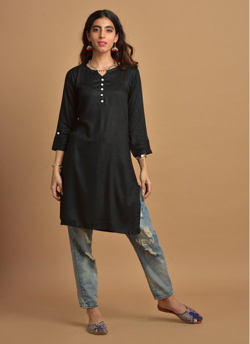 Plain Black Kurti With Notched Round Neck & 3/4th Sleeves