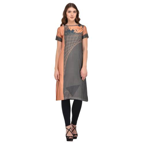 Grey & Peach Cotton Digital Printed Kurti