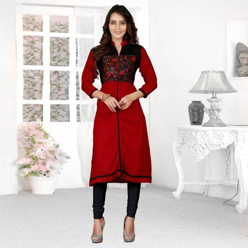 Red And Black Rayon Plain Chinese Collar Neck Straight Kurti