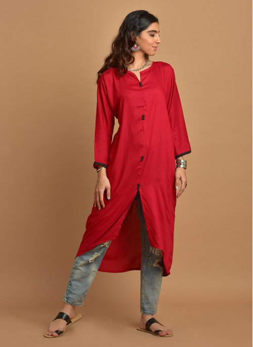 Plain Red Assymetric Kurti With Full Sleeves