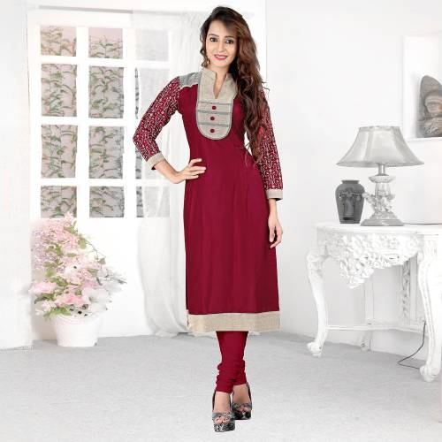 Red Rayon Plain Collar Neck Straight Kurti