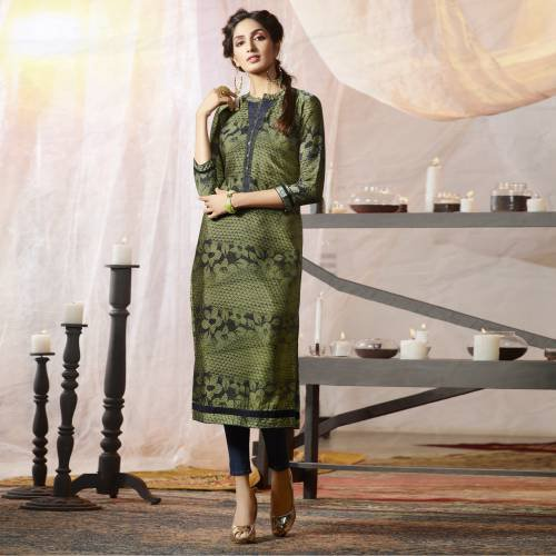 Green Crepe Embroidered Straight Kurti