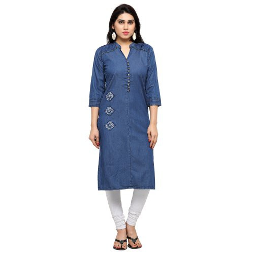 Blue Cotton Denim Readymade Ribbed In Patch Work Indowestern Party Wear Kurti