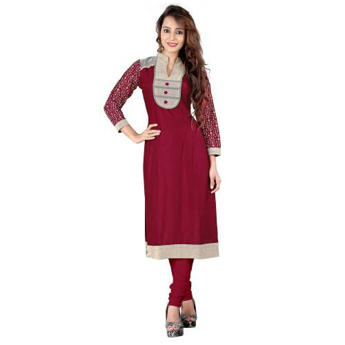 Red Rayon & Jute Cotton Kurti