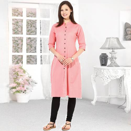 Pink Rayon Plain Collar Neck Straight Kurti