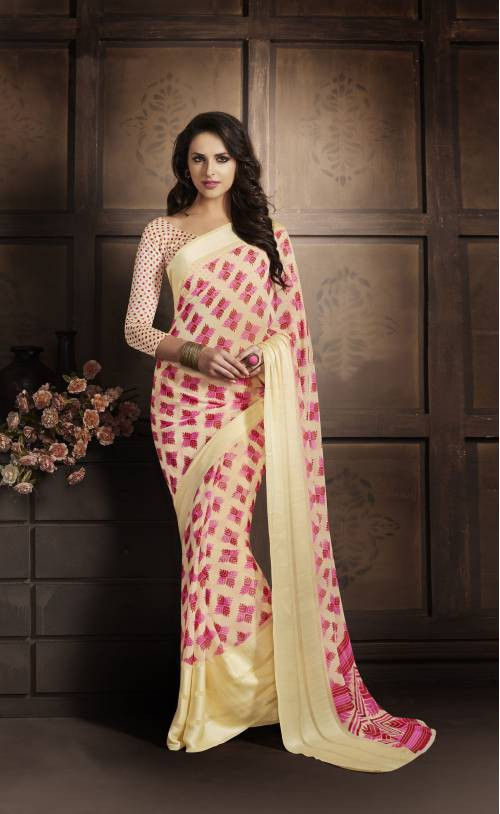 Craftsvilla Cream Georgette With Satin Zari Patta  Plain Saree With Unstitched Blouse