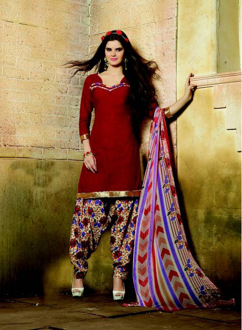 Craftsvilla Red South Cotton Patiyala Dress Material With Matching Dupatta