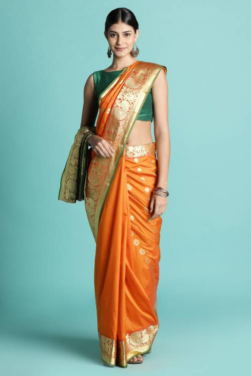 Craftsvilla Orange Bangalore Silk Saree With Golden Border & Heavy Pallu With Unstitched Blouse Material.