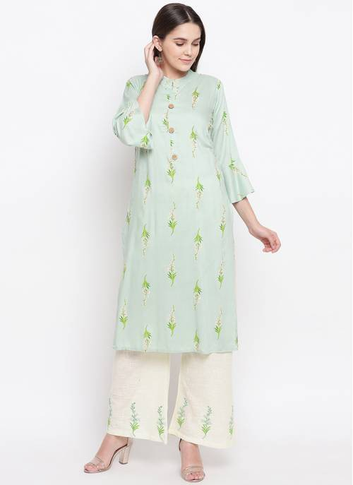 Green Viscose Printed Kurta With Palazzo Set