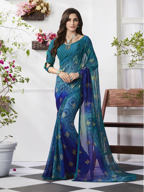 Craftsvilla Blue Georgette Plain Partywear Saree With Unstitched Blouse Material