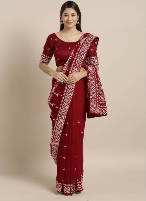 Red Georgette Designer Resham Embroidery Saree With Unstitched Blouse Material