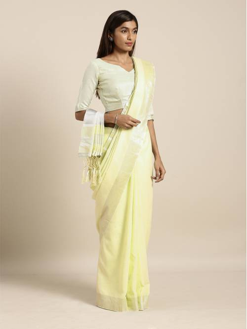 Craftsvilla Yellow Linen Woven Saree With Unstitched Blouse Material