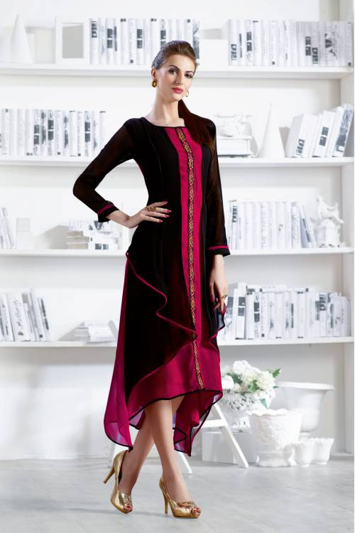 Black With Pink Georgette Readymade Embroidered Indo-western Party Wear Kurti