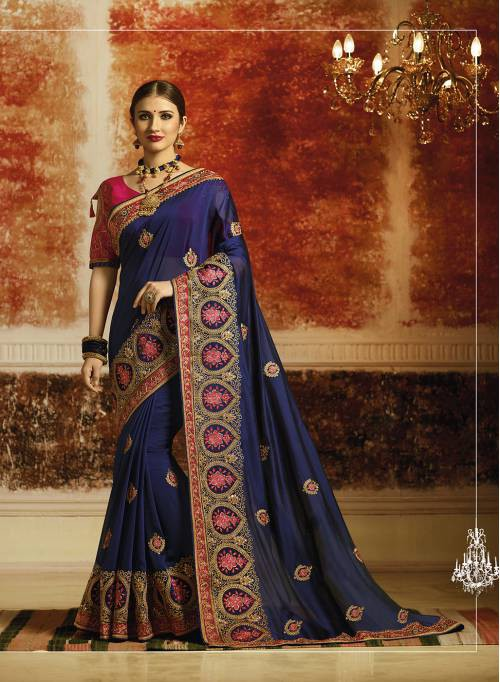 Craftsvilla Blue Georgette Resham Embroidery Traditional Saree With Unstitched Blouse Material