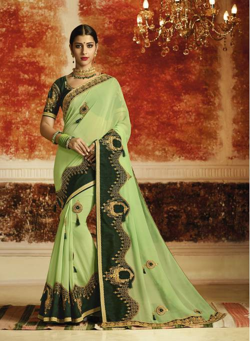 Craftsvilla Green Georgette Resham Embroidery Traditional Saree With Unstitched Blouse Material
