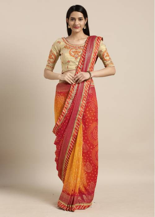 Craftsvilla Red Georgette Saree With Unstitched Blouse Material