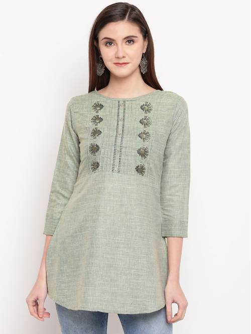 Green Cotton Blend Embroidered A Line Style Short Kurti