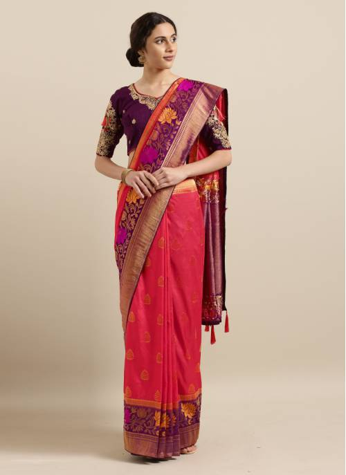 Red Silk Blend Resham Embroidery Saree With Unstitched Blouse Material