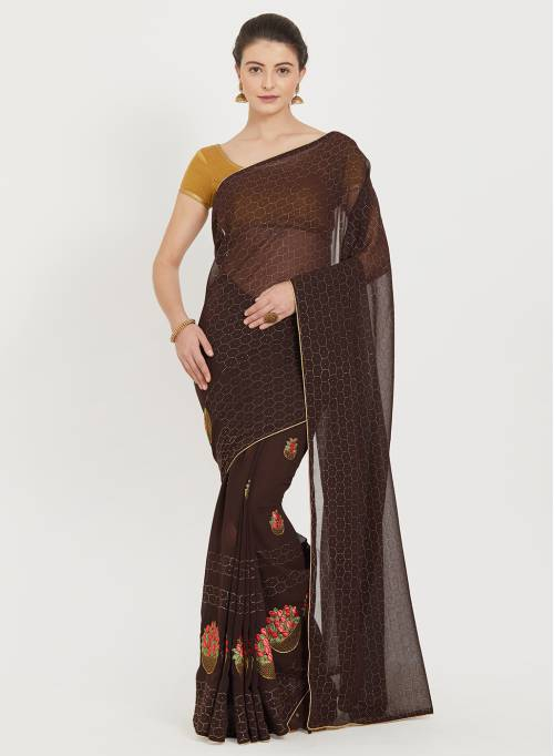 Craftsvilla Brown Georgette Floral Printed Traditional Saree With Unstitched Blouse Material