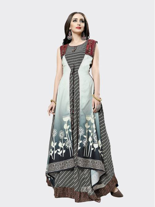 Craftsvilla Multicolor Silk Blend Designer Readymade Gown