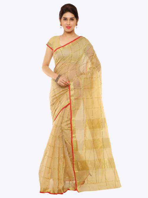 Craftsvilla Beige Cotton Silk Floral Printed Partywear Saree With Unstitched Blouse Material