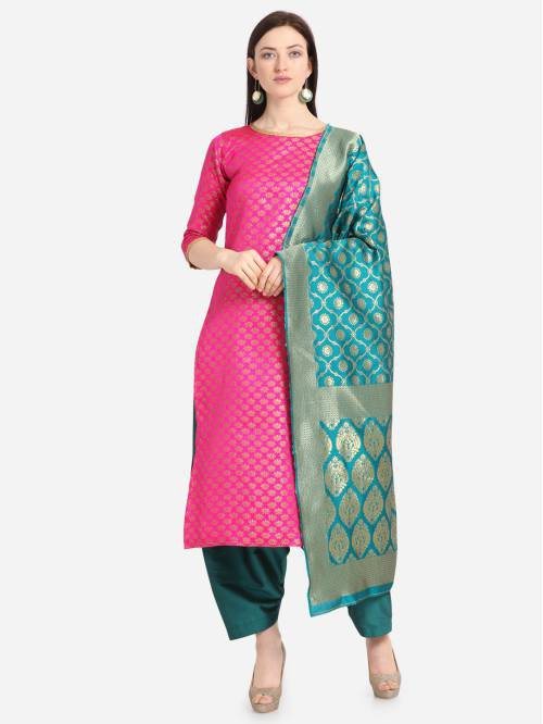Pink Silk Hand Woven Unstitched Straight Suit