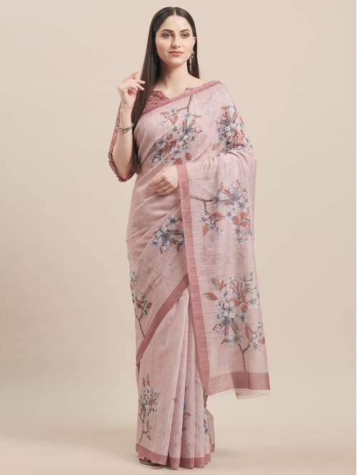 Pink Linen Designer Woven Saree With Unstitched Blouse Material