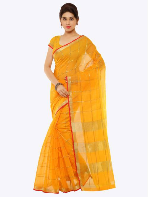 Craftsvilla Yellow Cotton Silk Floral Printed Partywear Saree With Unstitched Blouse Material