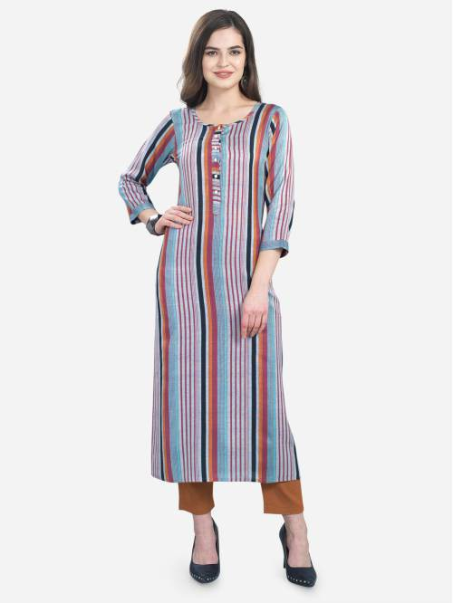 Grey Cotton Blend Solid Knee Length Straight Kurti