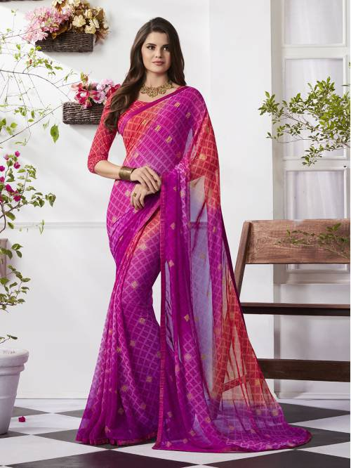 Craftsvilla Pink Georgette Plain Partywear Saree With Unstitched Blouse Material