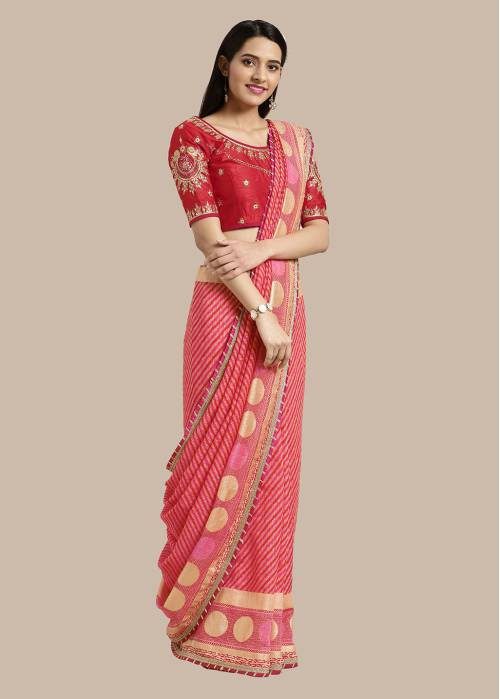 Craftsvilla Peach Georgette Saree With Unstitched Blouse Material