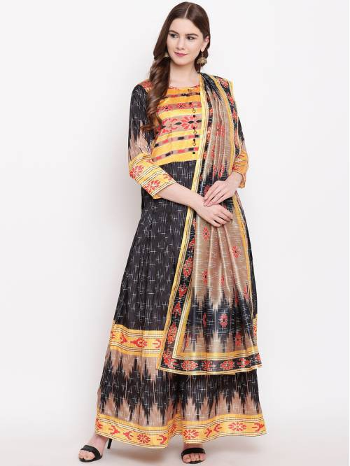 Black Silk Blend Embellished A Line Style Kurta With Dupatta
